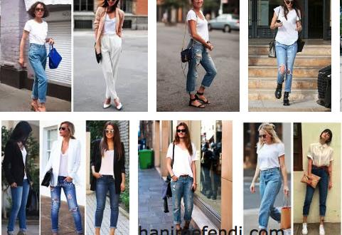kadınlarda beyaz tişört ve jean modası