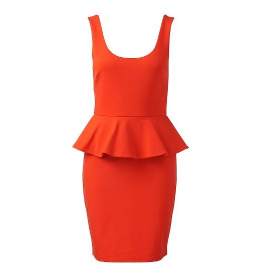 kırmızı peplum elbise